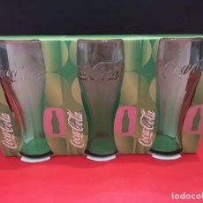 Coleccionismo de Coca-Cola y Pepsi: 3 VASOS DE COCACOLA COCA COLA VERDES. AÑO 2007. Lote 199753197