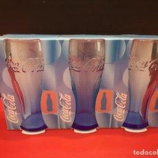 Coleccionismo de Coca-Cola y Pepsi: 3 VASOS DE COCACOLA COCA COLA AZUL . AÑO 2007. Lote 199753305