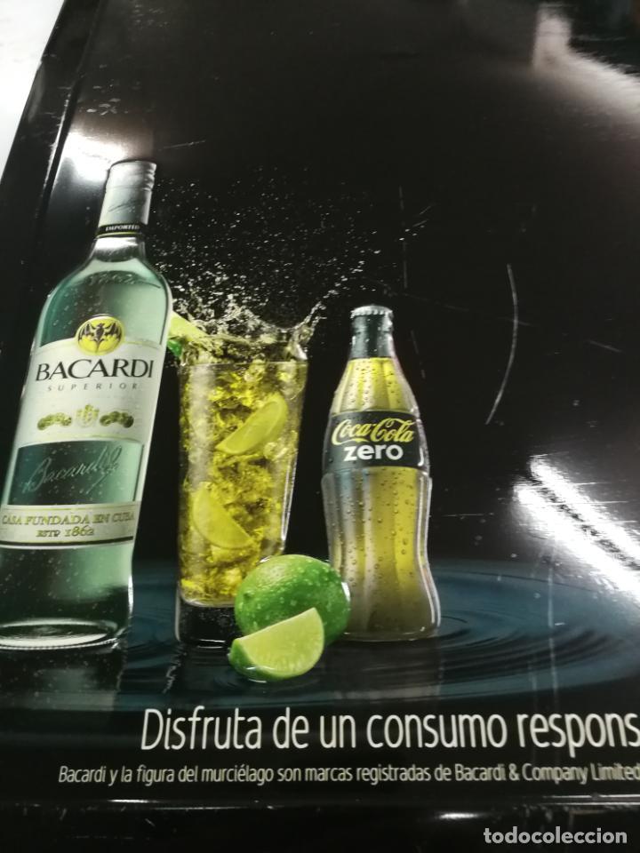 Coleccionismo de Coca-Cola y Pepsi: CHAPA PUBLICITARIA COCA - COLA ZERO BACARDI. PIZARRA. ORIGINAL - Foto 3 - 204701030