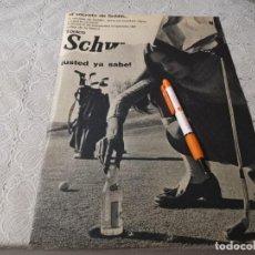 Coleccionismo de Coca-Cola y Pepsi: TONICA SCHWEPPES ANTIGUO ANUNCIO PUBLICIDAD REVISTA. Lote 206593812