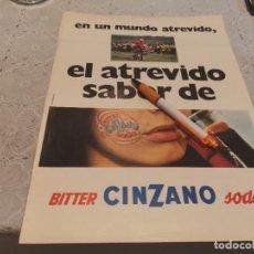 Coleccionismo de Coca-Cola y Pepsi: BITTER CINZANO SODA ANTIGUO ANUNCIO PUBLICIDAD REVISTA. Lote 206825730