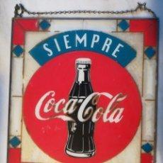 Coleccionismo de Coca-Cola y Pepsi: CARTEL ANTIGUO EN VIDRIO ANTIGUO COCA COLA. MIDE 41 X 45 CMS. Lote 206900921