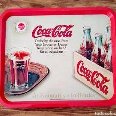 Coleccionismo de Coca-Cola y Pepsi: BANDEJA COCA COLA ESTILO RETRO BOTELLA CHAPA VASO. Lote 212286097