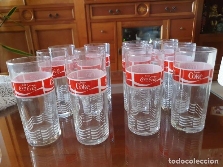 ANTIGUO JUEGO DE 12 VASOS DE COCA-COLA (Coleccionismo - Botellas y Bebidas - Coca-Cola y Pepsi)