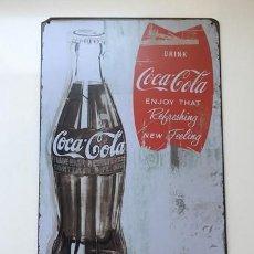 """Coleccionismo de Coca-Cola y Pepsi: CHAPA METÁLICA PUBLICIDAD DE COCACOLA DRINK """" ENJOY THAT """" ESTILO RETRO , MUY DECORATIVA. Lote 216655938"""