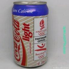 Coleccionismo de Coca-Cola y Pepsi: LATA COCA-COLA LIGHT SIN CAFEÍNA BARCELONA 92 - ALBERTVILLE 92 - JUEGOS OLÍMPICOS. Lote 218827045