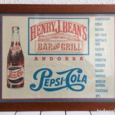 Coleccionismo de Coca-Cola y Pepsi: PEPSICOLA. CARTEL PUBLICIDAD DE BAR. COCA COLA. FANTA.. Lote 219685200