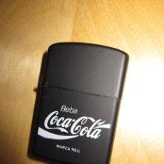 Coleccionismo de Coca-Cola y Pepsi: ANTIGUO MECHERO ENCENDEDOR TIPO ZIPPO COCA COLA COCACOLA NEGRO MATE. Lote 228040605