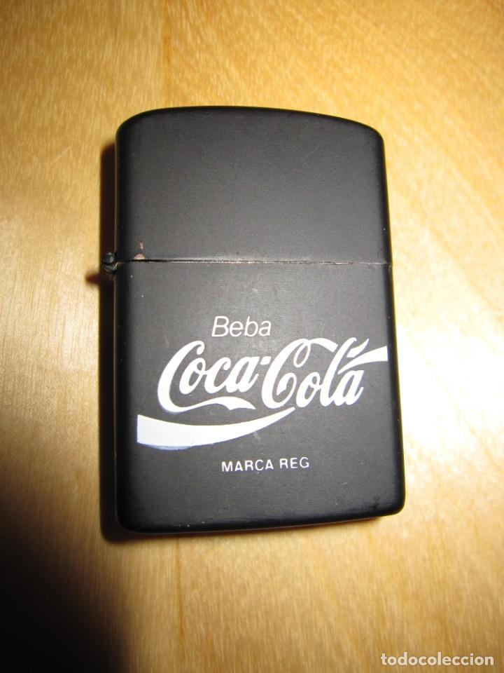 Coleccionismo de Coca-Cola y Pepsi: Antiguo mechero encendedor tipo Zippo Coca Cola CocaCola negro mate - Foto 3 - 228040605