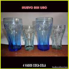 Coleccionismo de Coca-Cola y Pepsi: VASOS DE COCA-COLA 4 UNIDADES AZUL Y BLANCO. Lote 236514550
