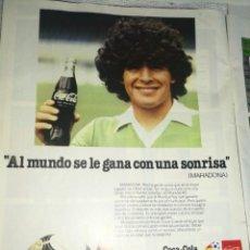 Coleccionismo de Coca-Cola y Pepsi: MARADONA Y COCA-COLA 1982,ANTIGUA PUBLICIDAD. Lote 237381310