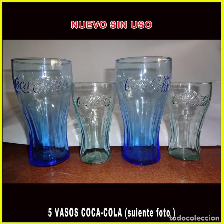VASOS DE COCA-COLA 5 UNID AZUL Y BLANCO EL BLANCO ES UN POCO MAS GRANDE QUE EL AZUL** VER FOTO ** (Coleccionismo - Botellas y Bebidas - Coca-Cola y Pepsi)