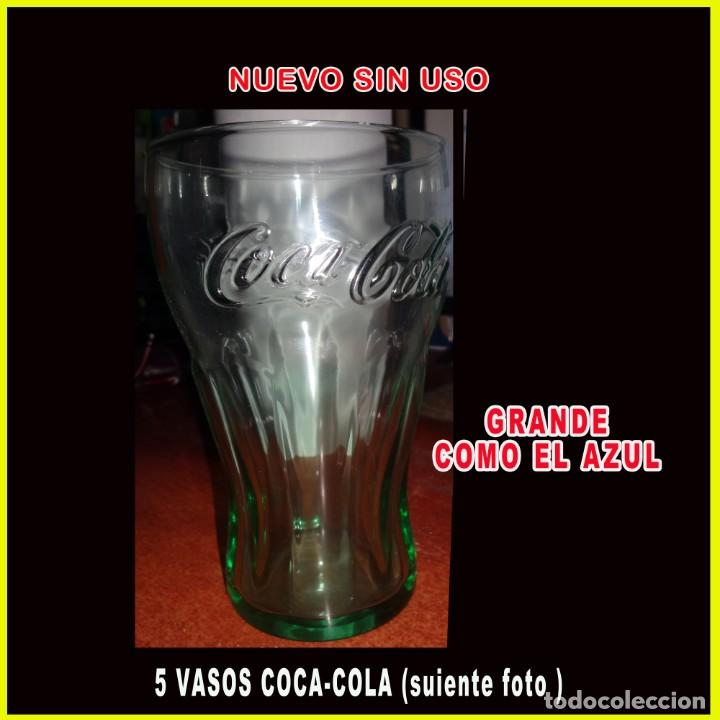Coleccionismo de Coca-Cola y Pepsi: VASOS DE COCA-COLA 5 unid AZUL y BLANCO EL BLANCO ES UN POCO MAS GRANDE QUE EL AZUL** VER FOTO ** - Foto 2 - 236514550