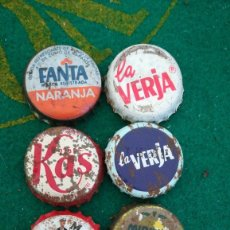 Coleccionismo de Coca-Cola y Pepsi: OCHO CHAPAS ANTIGUAS, LA VERJA, KAS, MAYADOR, MIRINDA. Lote 244850080