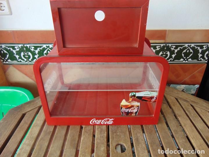 VITRINA , EXPOSITORA , EXPOSITOR DE COCA COLA, PUBLICIDAD MADERA Y METACRILATO (Coleccionismo - Botellas y Bebidas - Coca-Cola y Pepsi)