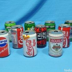 Coleccionismo de Coca-Cola y Pepsi: LOTE DE 10 LATAS VARIADAS - CERVEZA Y REFRESCOS - COCA-COLA- PEPSI - SPRITE - SURFING - AÑOS 90. Lote 271548218