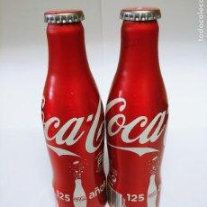 Coleccionismo de Coca-Cola y Pepsi: LOTE 2 BOTELLAS COCA COLA ALUMINIO SIN ABRIR CONMEMORACION 125 AÑOS. Lote 287094333