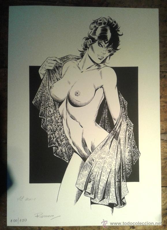 LAMINA POSTER PRINT DE MODESTY BLAISE POR ENRIC BADIA ROMERO FIRMADO 37X53 CM (Coleccionismo para Adultos - Comics)