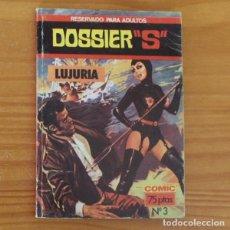 """Cómics: DOSSIER """"S"""" 3 LUJURIA. E.S. EDITOR 1980. Lote 296763353"""