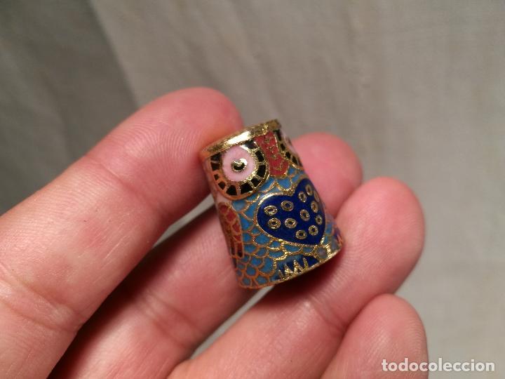 Coleccionismo de dedales: dedal buho bronce esmaltado cloisonne - Foto 6 - 102770859