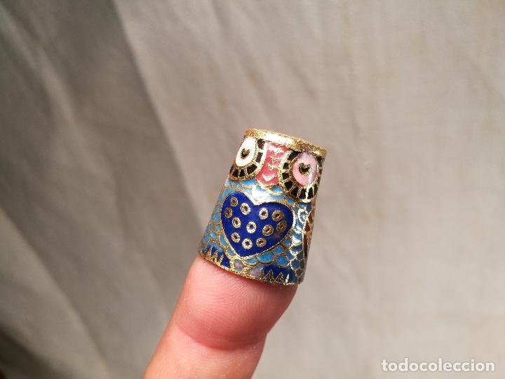 Coleccionismo de dedales: dedal buho bronce esmaltado cloisonne - Foto 7 - 102770859