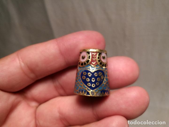 Coleccionismo de dedales: dedal buho bronce esmaltado cloisonne - Foto 8 - 102770859
