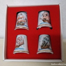 Coleccionismo de dedales: CAJA DE 4 DEDALES DE AUTENTICA PORCELANA JAPONESA. DECORADOS CON BARCOS.. Lote 105991815
