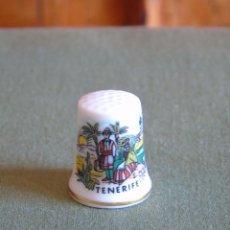 Coleccionismo de dedales: DEDAL DE PORCELANA BLANCA. TENERIFE.. Lote 135586382