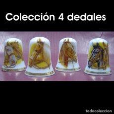 Coleccionismo de dedales: DEDAL PORCELANA - CABALLOS (COLECCIÓN 4 DEDALES). Lote 166568316