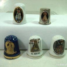 Coleccionismo de dedales: COLECCION 5 DEDALES CERAMICA-VIRGEN RELIGIOSOS ROCIO SANTIAGO APOSTOL REMEDIOS -DEDAL PORCELANA . Lote 167858400