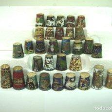 Coleccionismo de dedales: IMPORTANTE COLECCION 31 DEDALES - METAL LACADO CLOISONNE - ANIMALES FLORES- DEDAL. Lote 172023942