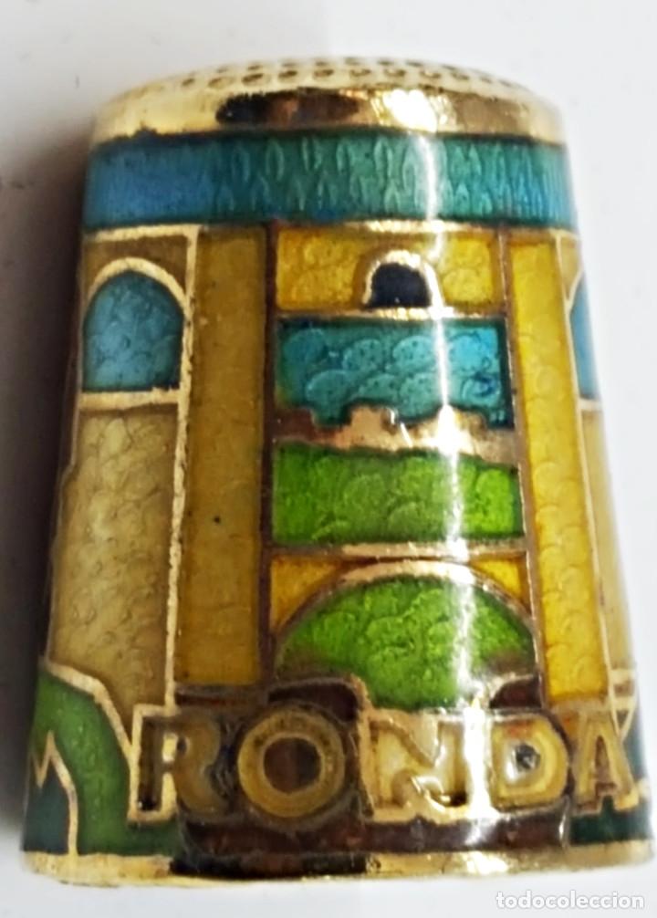 Coleccionismo de dedales: Dedal de metal esmaltado de RONDA - Foto 4 - 178970621