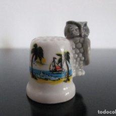 Coleccionismo de dedales: DEDAL RECUERDO DE LOS ALCAZERES CON LECHUZA. Lote 204702830