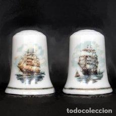 Coleccionismo de dedales: DEDAL PORCELANA - BARCOS (PAREJA). Lote 251412915