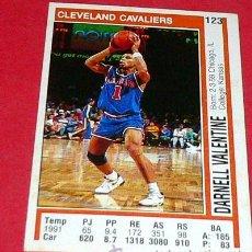 Coleccionismo deportivo: CLEVELAND CAVALIERS: DARNELL VALENTINE - PANINI - FICHA NBA 91/92. Lote 28454724