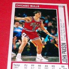 Coleccionismo deportivo: CHICAGO BULLS: JOHN PAXSON - PANINI - FICHA NBA 91/92. Lote 28454738