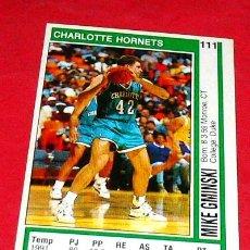 Coleccionismo deportivo: CHARLOTTE HORNETS: MIKE GMINSKI - PANINI - FICHA NBA 91/92. Lote 28454747