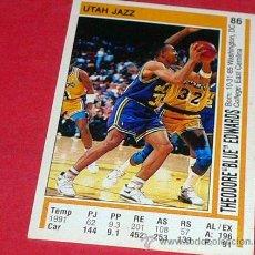 Coleccionismo deportivo: UTAH JAZZ: THEODORE ¨BLUE¨ EDWARDS - PANINI - FICHA NBA 91/92. Lote 28458324