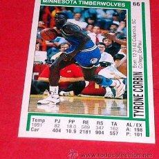 Coleccionismo deportivo: MINNESOTA TIMBERWOLVES: TYRONE CORBIN - PANINI - FICHA NBA 91/92. Lote 28458368