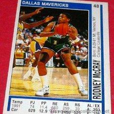 Coleccionismo deportivo: DALLAS MAVERICKS: RODNEY MCCRAY - PANINI - FICHA NBA 91/92. Lote 28458408