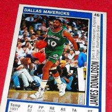 Coleccionismo deportivo: DALLAS MAVERICKS: JAMES DONALDSON - PANINI - FICHA NBA 91/92. Lote 28458419