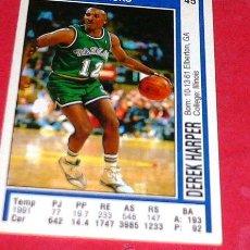 Coleccionismo deportivo: DALLAS MAVERICKS: DEREK HARPER - PANINI - FICHA NBA 91/92. Lote 28458430