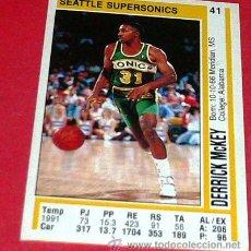 Coleccionismo deportivo: SEATLE SUPERSONICS: DERRICK MCKEY - PANINI - FICHA NBA 91/92. Lote 28458442
