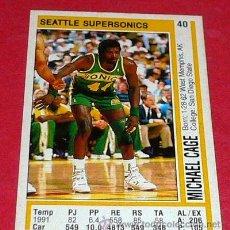 Coleccionismo deportivo: SEATLE SUPERSONICS: MICHAEL CAGE - PANINI - FICHA NBA 91/92. Lote 28458457