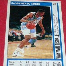 Coleccionismo deportivo: SACRAMENTO KINGS: WAYMAN TISDALE - PANINI - FICHA NBA 91/92. Lote 28458488