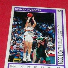 Coleccionismo deportivo: DENVER NUGGETS: TODD LICHTI - PANINI - FICHA NBA 91/92. Lote 28458639