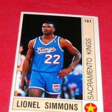 Coleccionismo deportivo: TOP ROOKIES: LIONEL SIMMONS - SACRAMENTO KINGS - PANINI - FICHA NBA 91/92. Lote 28458692