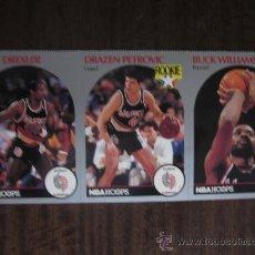 Coleccionismo deportivo: CROMOS OFICIALES NBA PORTLAND TRAIL BLAZERS 1990 ( PETROVIC, DREXLER, B.WILLIAMS) + SOBRE+ MENSAJE. Lote 30386472