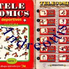Coleccionismo deportivo: ALBUM TELE COMICS DEPORTIVOS. DIBUJOS ANIMADOS (MOVIL) DE JAN. COLECCION COMPLETA AÑO: 1985 . Lote 31846030