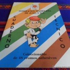 Coleccionismo deportivo: JUDO APRENDE JUGANDO COMPLETO 75 CROMOS Y CUADERNO TÉCNICO COMPLETO 48 CROMOS. FED. MADRILEÑA. RAROS. Lote 42473225